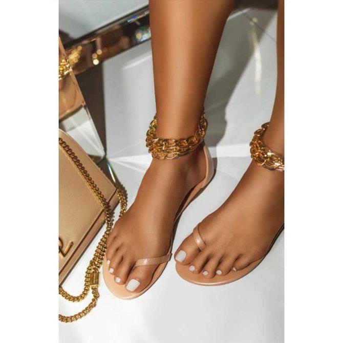Dress Leather Flat Heel Sandals