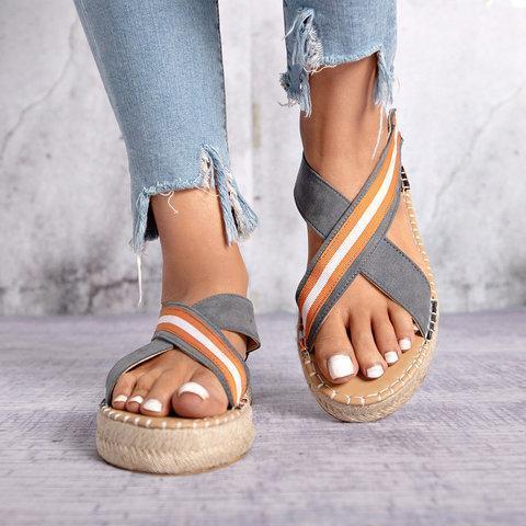 Bohemian Slip-On Straw Platform Sandals