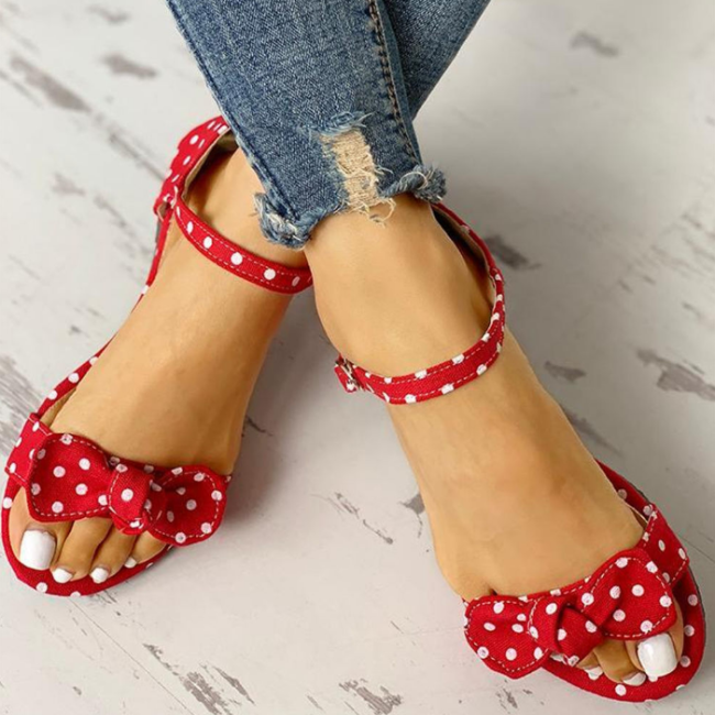 Leisure Plus Sizes 44 Flip Flop Comfortable Flat Sweet Polka Dot Summer Women Sandals