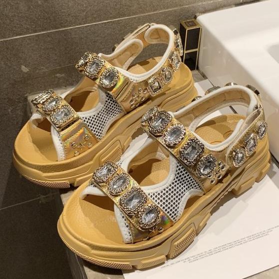 2020 New Woman Summer Rhinestone Thick Bottom Muffin Fairy High Heels Sandals