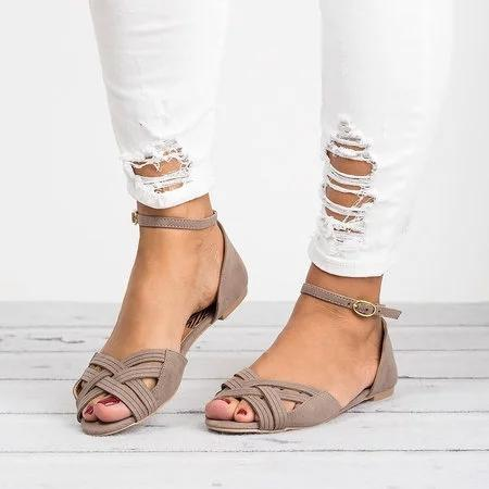 Women Plus Size Flats Daily Adjustable Buckle Sandals