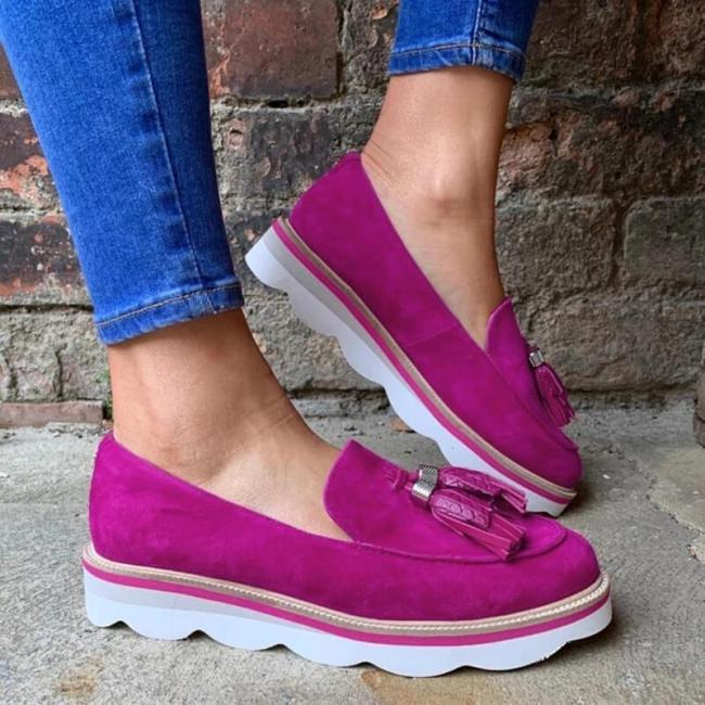 Women Suede Tassel Slip On Platform Loafers