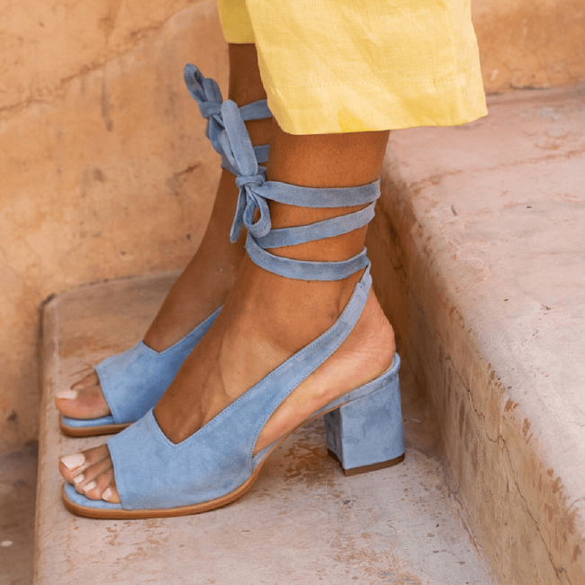 Women Bandage Suede Pumps Holiday Summer Chunky Heel Sandals