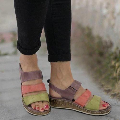 Plus Size New Fashion Stitching Block Wedges Women's Sandals