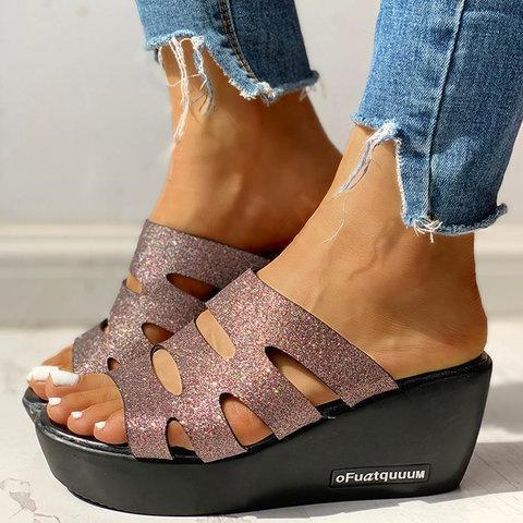 Women Casual Summer Sparkling Glitter Wedge Sandals