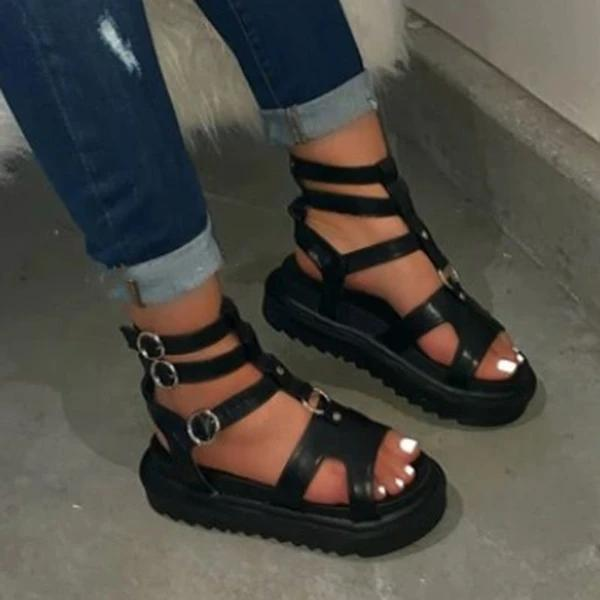 Buckle Platform Open Toe Buckle Plain Sandals