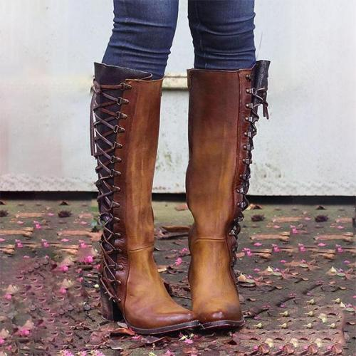 Women Vintage Lace Up Boots Zipper And Lace Above Knee Boots