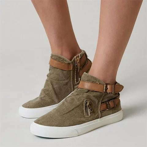 Canvas Ankle Boots Flat Heel Buckle Booties with Zipper