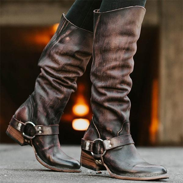 Women Artificial Leather Harness Western Boot