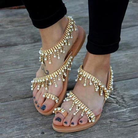 Women Bohemian Style Sandals Casual Beach Pearls Shoes