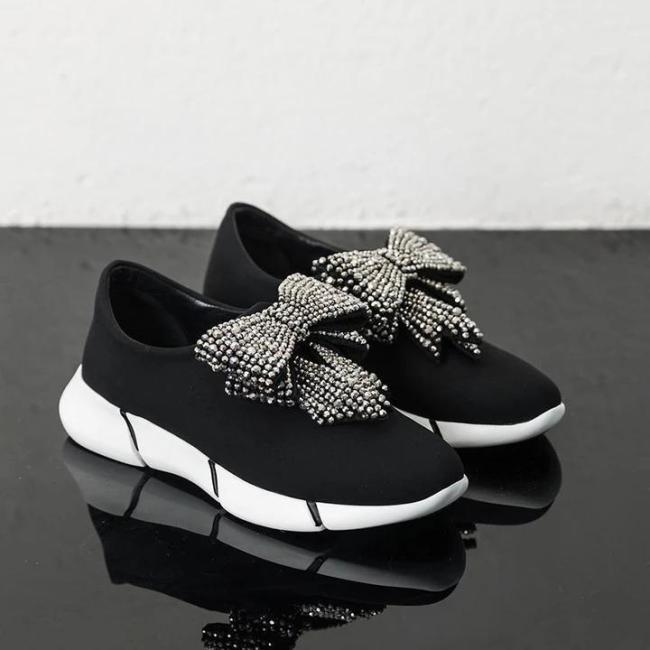 Athletic Rhinestone Bowknot Sneakers Women Slip-on Running Shoes