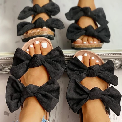 Woman Casual Bow Flat Slippers Sandals