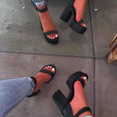 Women Large Size Ankle Strap Platform Chunky Sandals