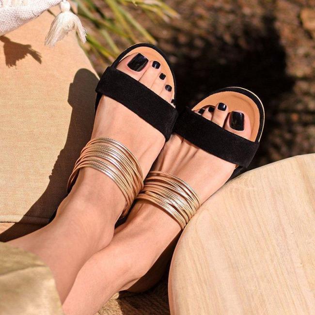 Split Joint Casual Blue Flat Heel Open Toe Slippers