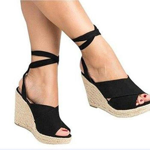 Womens Wedge Heel Artificial Suede Summer Lace-Up Sandals