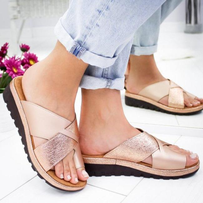 Women Bronze Slip-on Slippers