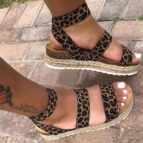 Ankle Strap Platform Line-Style Buckle Open Toe Platform Leopard Sandals