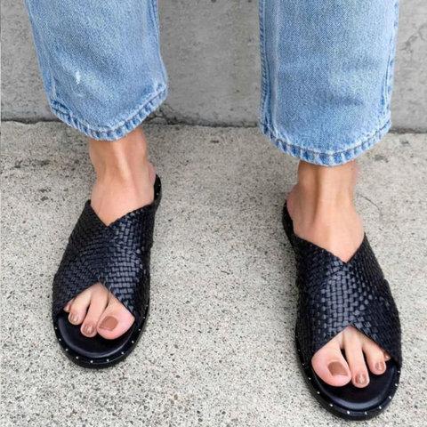 Summer Vintage Open Toe Slide Sandals