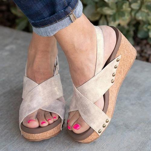 Women Vintage Wedge Sandal Shoes
