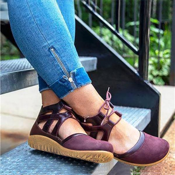 Large Size Women Casual Comfy Lace-Up Flat Heel Shoes