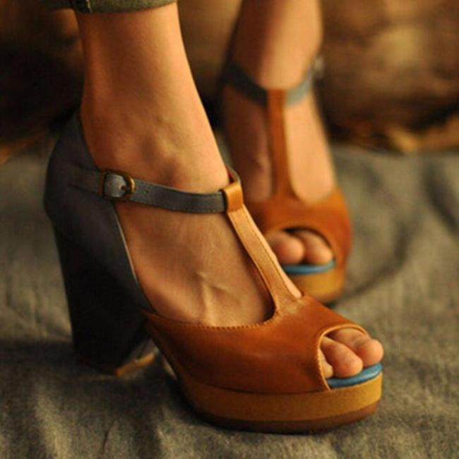 Vintage Open Toe T-shaped Buckle Sandals