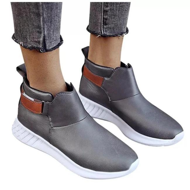 Women Casual Vintage Magic Tape Flat Heel Boots