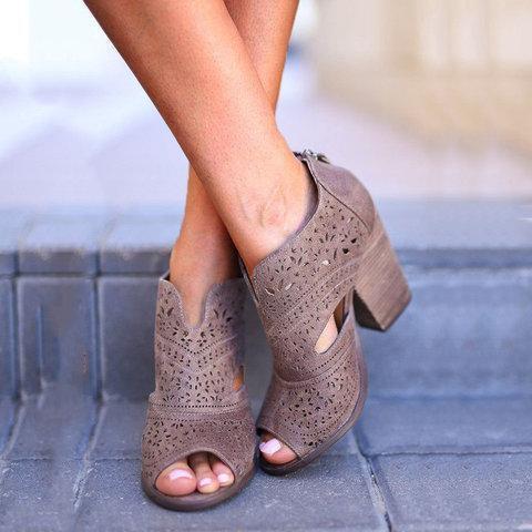 Back Zipper Chunky Heel Hollow Out Sandals