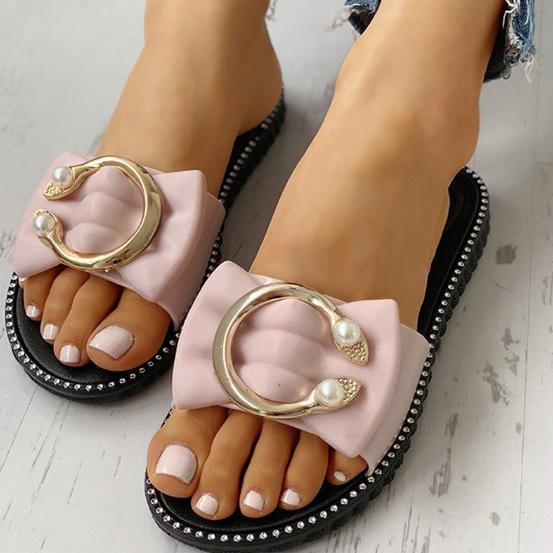 Women Summer Bowtie Pearl Flat PU Causal Non-Slip Sandals