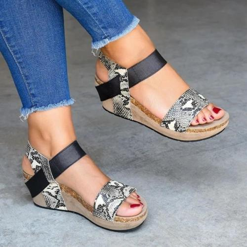 Women's Snakeskin Wedge Heel Platform Sandals