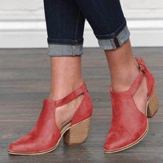 Plain Chunky High Heeled Point Toe Date Outdoor Pumps Boots