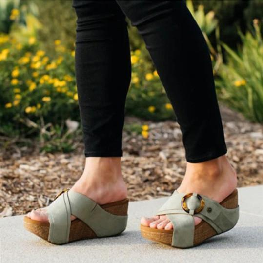 Women's simple wedge slippers