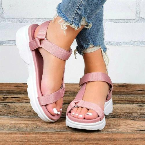 Women Simple Comfy Breathable Hook Loop Casual Platform Sandals