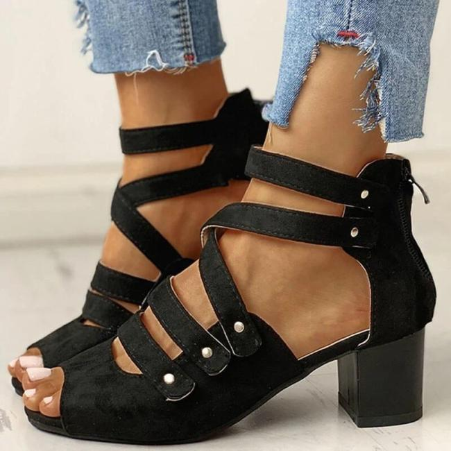 Women Large Size Hollow Out Back Zipper Chunky Sandals