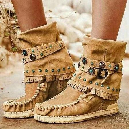 Flat Heel All Season Suede Boots