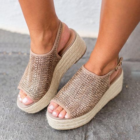 Platform Peep Toe Weaving Sandals