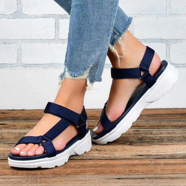 Women Simple Comfy Breathable Hook Loop Casual Platform Sandals