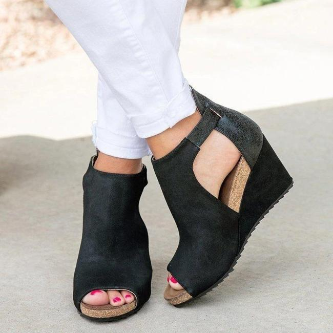 Peep Toe Blocking Hook-Loop Wedges Sandals