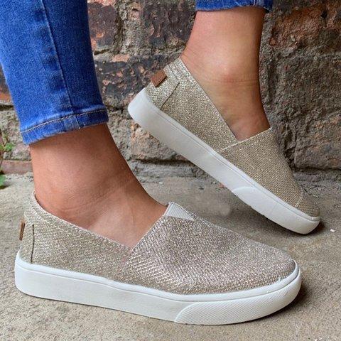 Sparkling Glitter Casual Flat Heel All Season Sneakers
