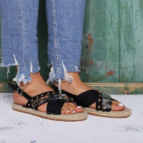 Beach Sandals Buckle Linen Cloth Flat Heel Open Toe Flat Heel Sandals