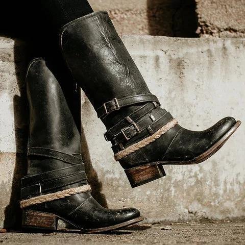 Vintage Adjustable Buckle Boots Plus Size Back Zipper Boots