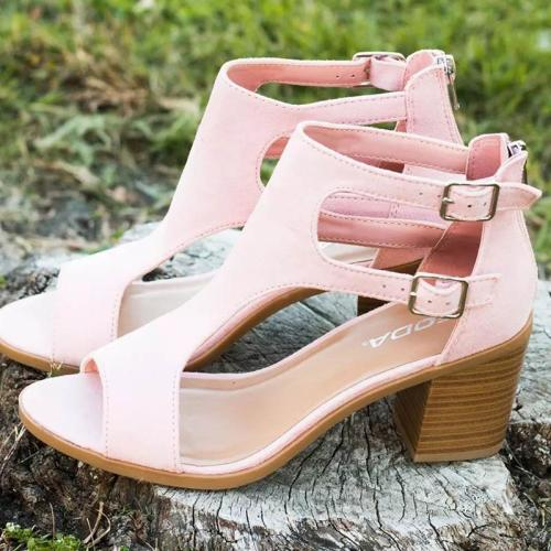 LARGE SIZE WOMEN CHUNKY HEEL PEEP TOE SANDALS