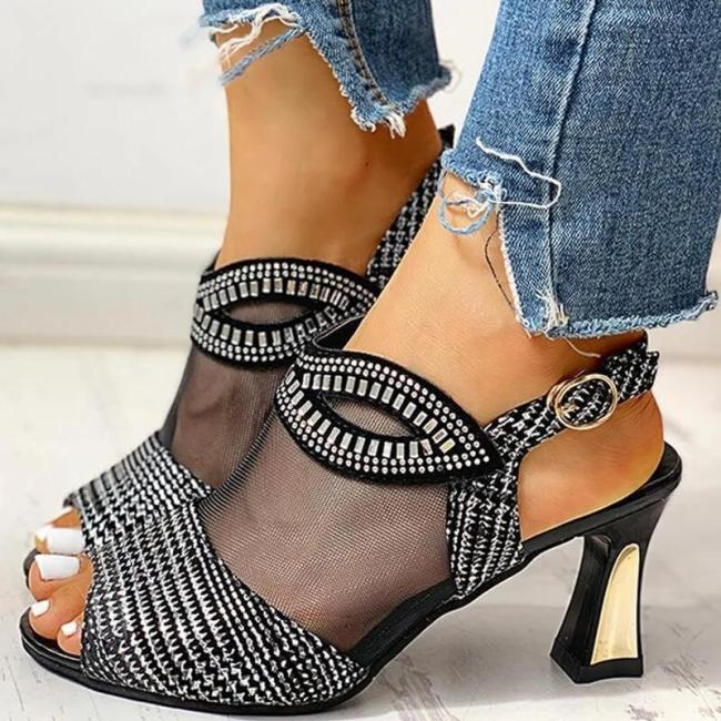 Women Mesh Hollow Out Rhinestone Chunky Sandals