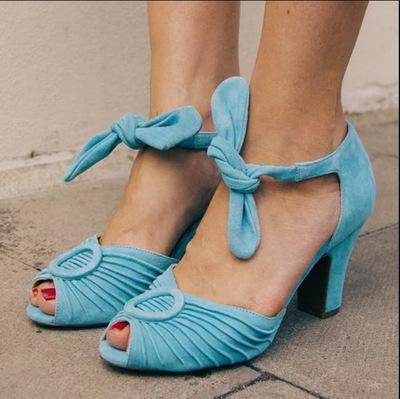 Vintage Bowknot Lace-Up Low Heel Sandal