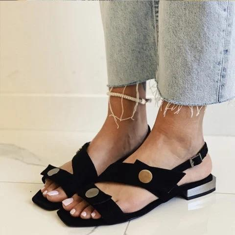 Flat Heel Leather Sandals