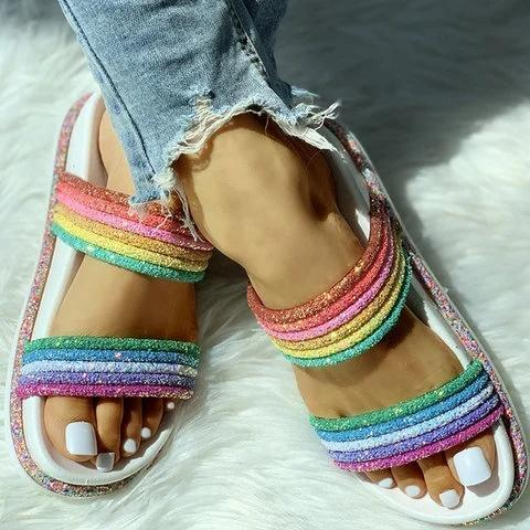 Women Casual Daily Comfy Rainbow Slippers