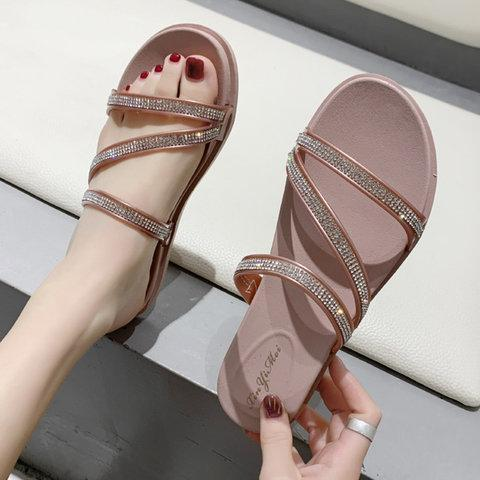 Women Slide PU Casual Rhinestone Sandals