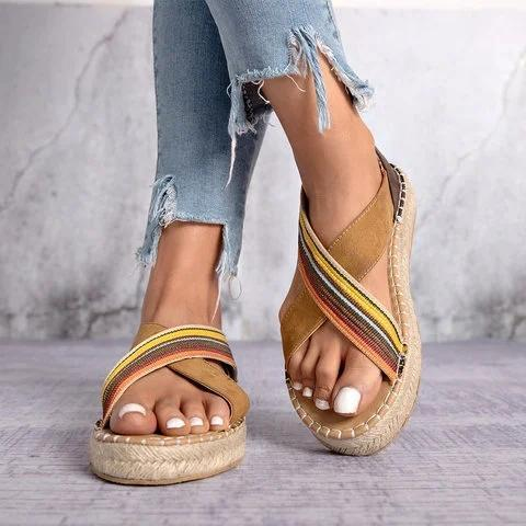 Bohemian Slip-On Straw Platform Sandals