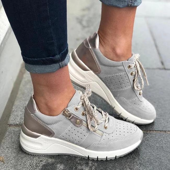 Women Lace-up Hollow-out Side Zipper Wedge Sneakers
