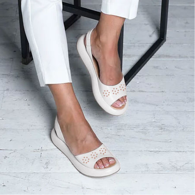 Faux Leather Hollow-Out Daily Sandals