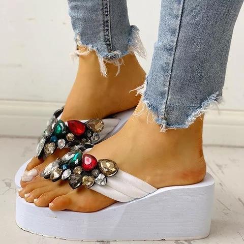 Women Thong Sandals Wedge Heel Pvc Summer Rhinestone Slippers